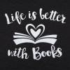 life is better with books open book design charcoal