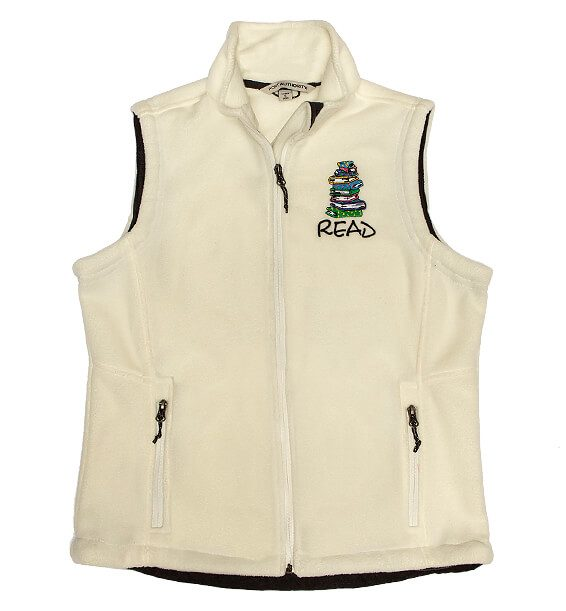 211 vest-fleece-white-read-books