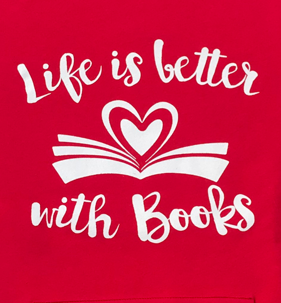 life is better with books crewneck with front pouch red