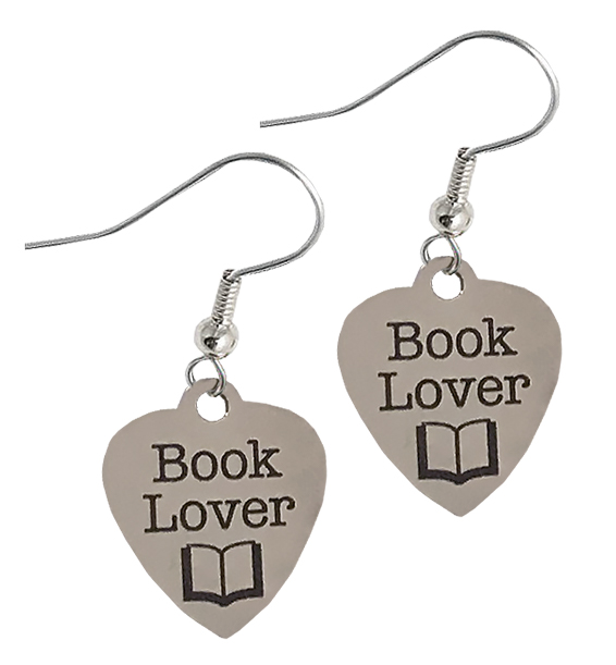 book lover earrings stainless steel new