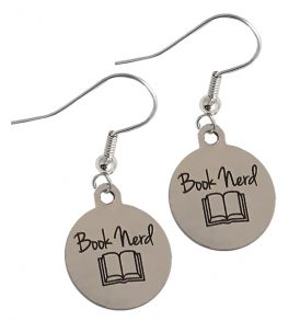 book nerd earrings stainless steel new