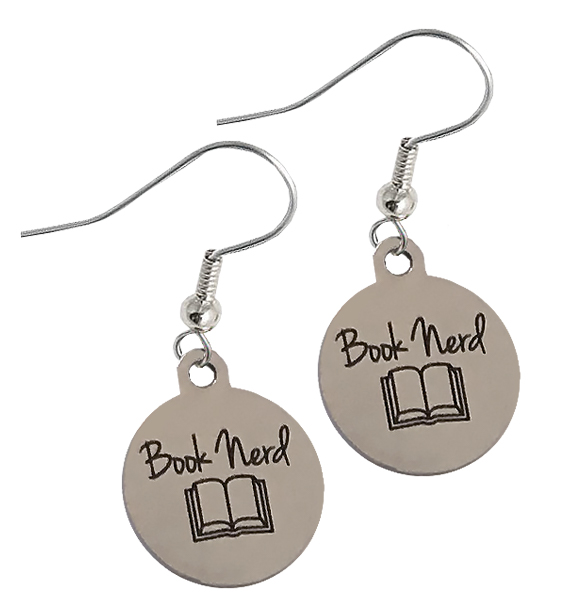 book nerd earrings stainless steel new